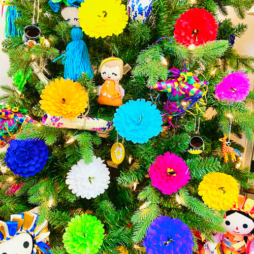 Handmade Paper Flower Ornaments - Set of 10 pcs