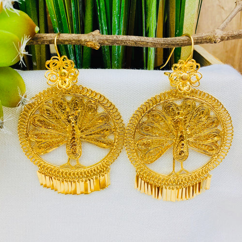 Gold Filigrana Artisan Earrings - Large