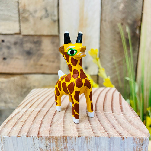 Mini Giraffe Alebrije Handcarve Wood Decoration Figure