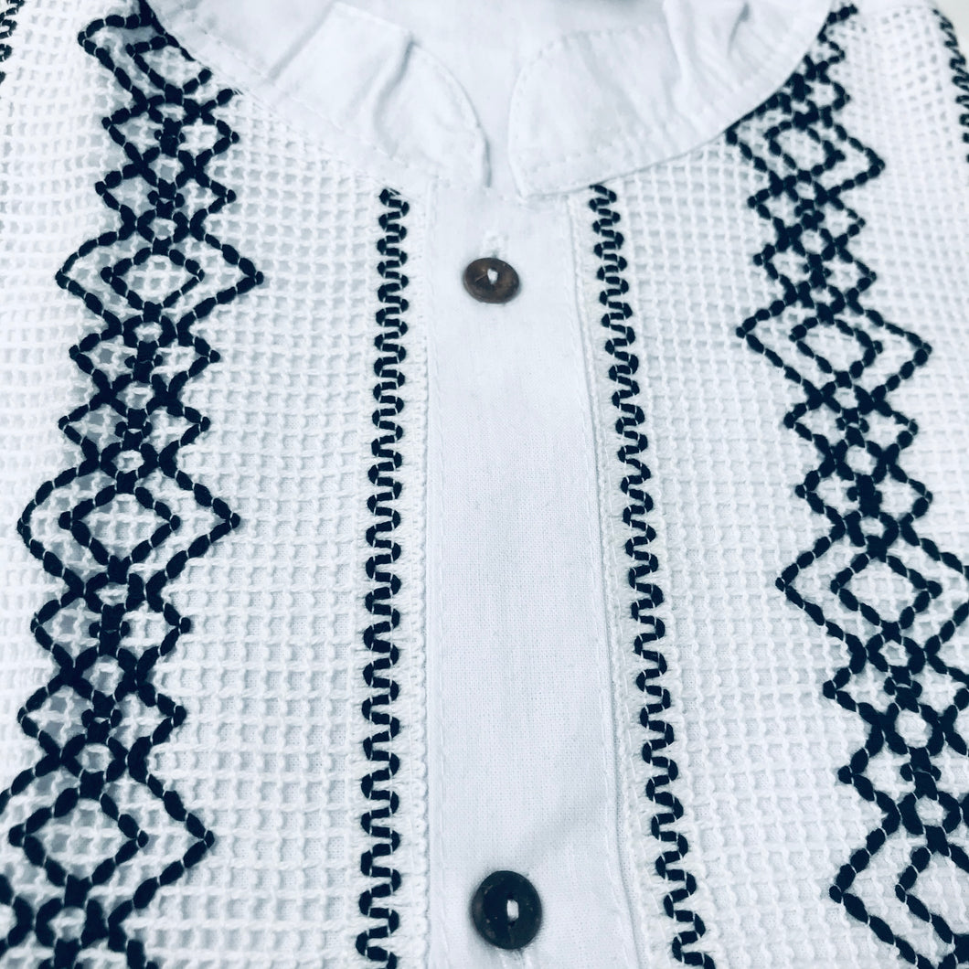 Men Guayabera - Manta with Lace