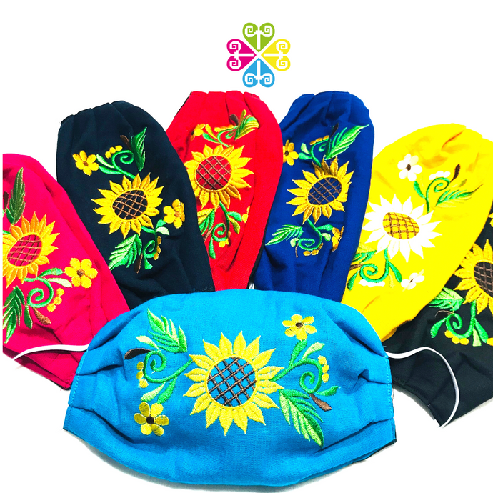Sunflower Embroider Facemasks - WOMEN