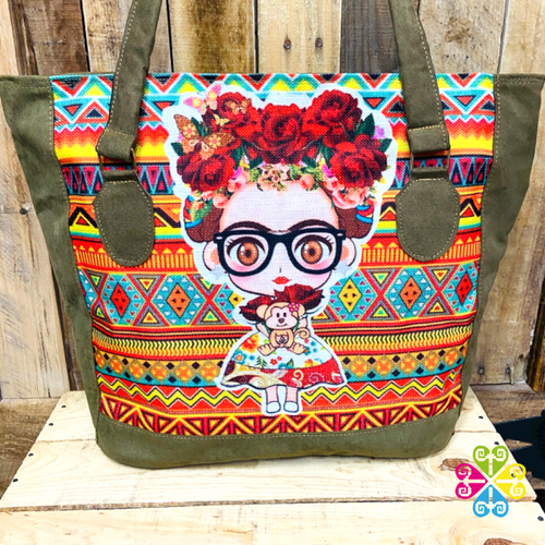 Little Frida with Glasses Roses - Olive Green