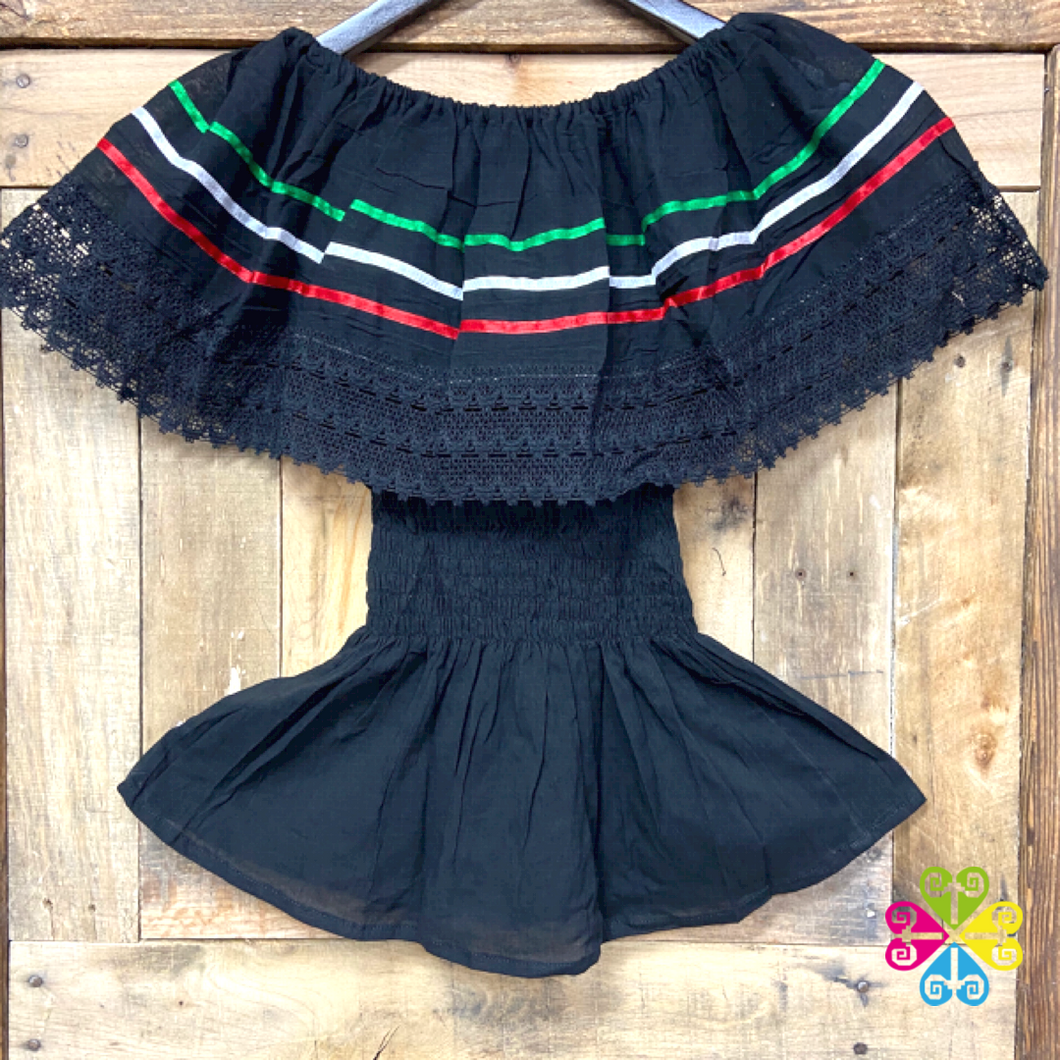 Mexican Tricolor Black Campesina Top with Elastic