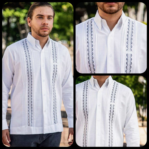 Linen Merida Guayabera- Gray Stripes