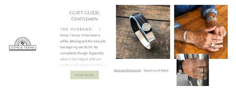 Backyard Silversmiths featured in Come & Texas Gentlemen's Guide