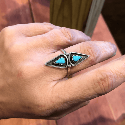 Double Teardrop Turquoise and Silver Ring - Backyard Silversmiths Artisan Find