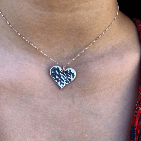Hammered Silver Heart Necklace by Backyard Silversmiths Jewelry