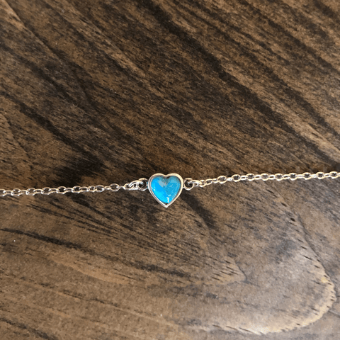 Turquoise Heart Anklet - Backyard Silversmiths Artisan Find