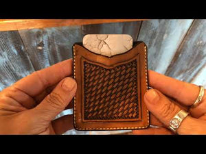 Leather Minimalist Wallet - Backyard Silversmiths Artisan Find