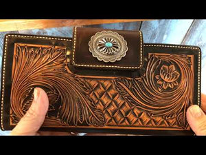 Ladies Leather Western Wallet - Backyard Silversmiths Artisan Find