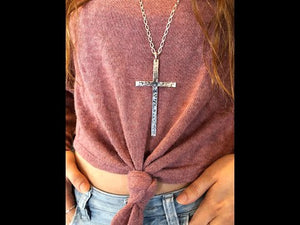 Long Silver Cross on Long Necklace