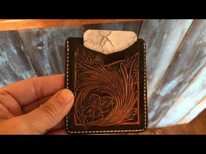 Leather Floral Wallet with Money Clip - Backyard Silversmiths Artisan Find