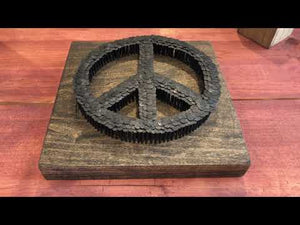 Rustic Peace Sign Decor Sign Made with Nails and Wood - Backyard Silversmiths Artisan Find