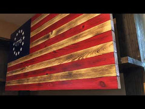 Rustic Betsy Ross 1776 American Flag Wood Sign - Backyard Silversmiths Artisan Find