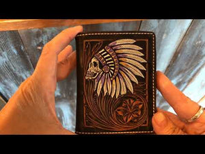 Leather Indian Skull Native American Wallet - Backyard Silversmiths Artisan Find