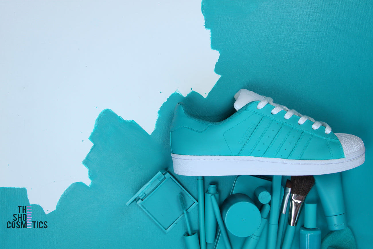 Hand Painted Turquoise Adidas Original superstar Womens Custom Sneaker