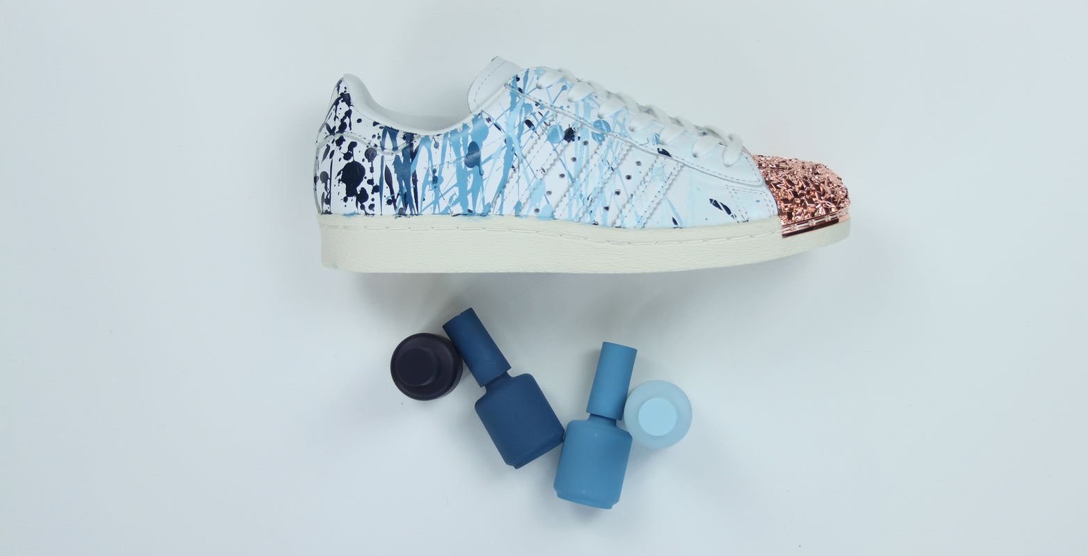 TheShoeCosmetics Hand Painted Blue Ombre Splatter Adidas Superstar Custom Sneakers