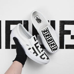 TheShoeCosmetics - Black And White Fendi Vans Slip On Custom Sneakers