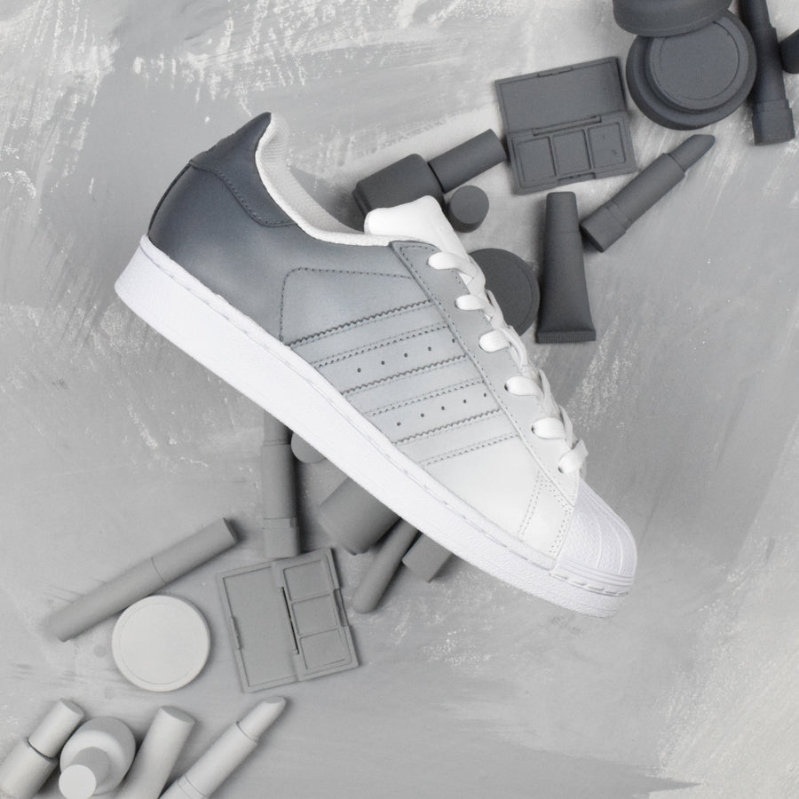 GREY OMBRE ADIDAS SUPERSTAR CUSTOM SHOES