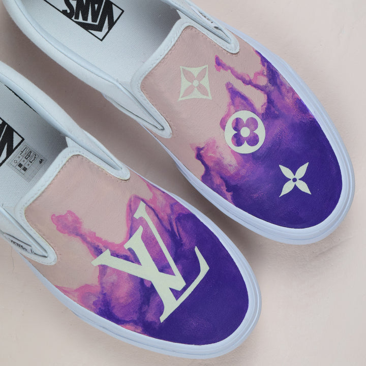 TheShoeCosmetics - Purple Smoke Louis Vuitton Vans Slip on custom sneakers