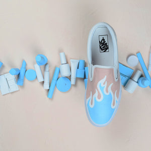 TheShoeCosmetics - Blue Flame Vans Slip On Custom Sneakers