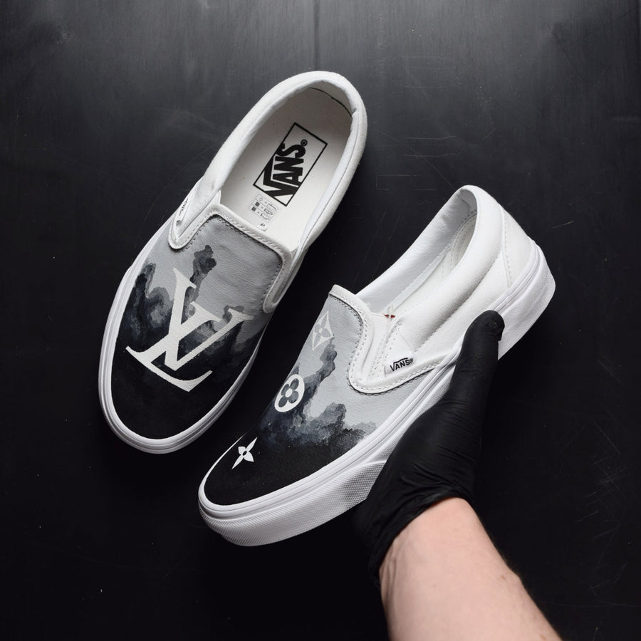 TheShoeCosmetics - Black Smoke Louis Vuitton Vans Slip On Custom Sneakers