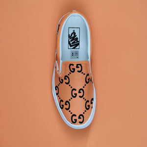 ORANGE GUCCI VANS SLIP ON CUSTOM SNEAKERS