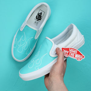 Blue Flame Vans Slip On Custom Sneakers (White)