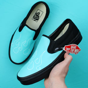 Blue Flame Vans Slip On Custom Sneakers (Black)
