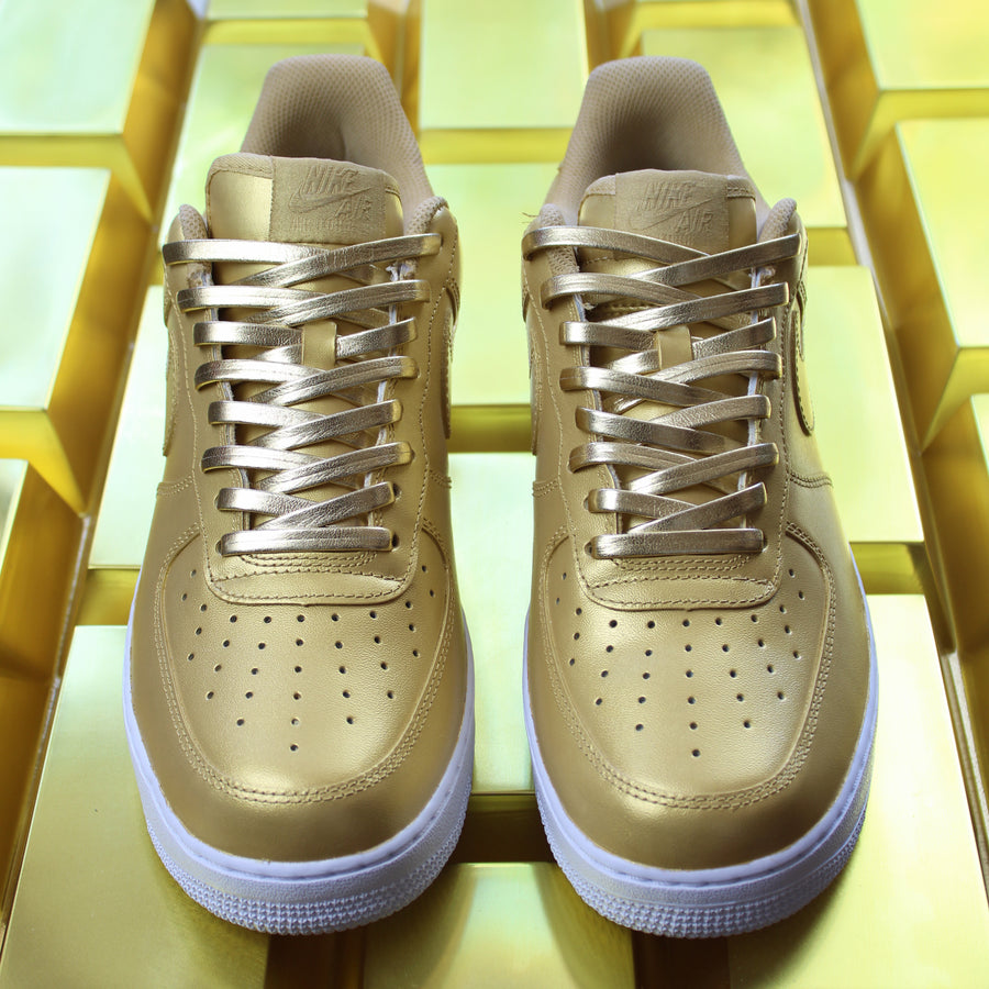 CUSTOM NIKE AIR FORCE 1, NIKE AIR FORCE 1 GOLD NIKE SHOES, THESHOECOSMETICS