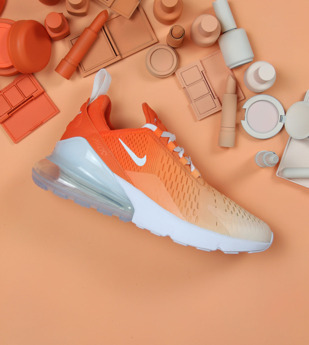 huge discount bcfc1 cbfba TheShoeCosmetics. ORANGE OMBRE NIKE AIR MAX 270 S CUSTOM SHOES