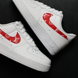 Red Louis Vuitton Nike Air Force 1 Custom Sneakers