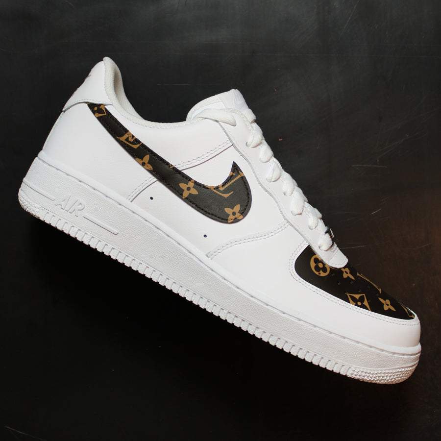 Brown Louis Vuitton Nike Air Force 1 Custom Sneakers
