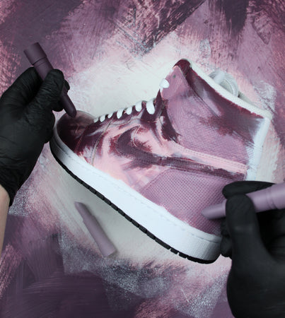 TheShoeCosmetics - Burgundy Custom Jordan 1 Sneakers - Smudged Makeup