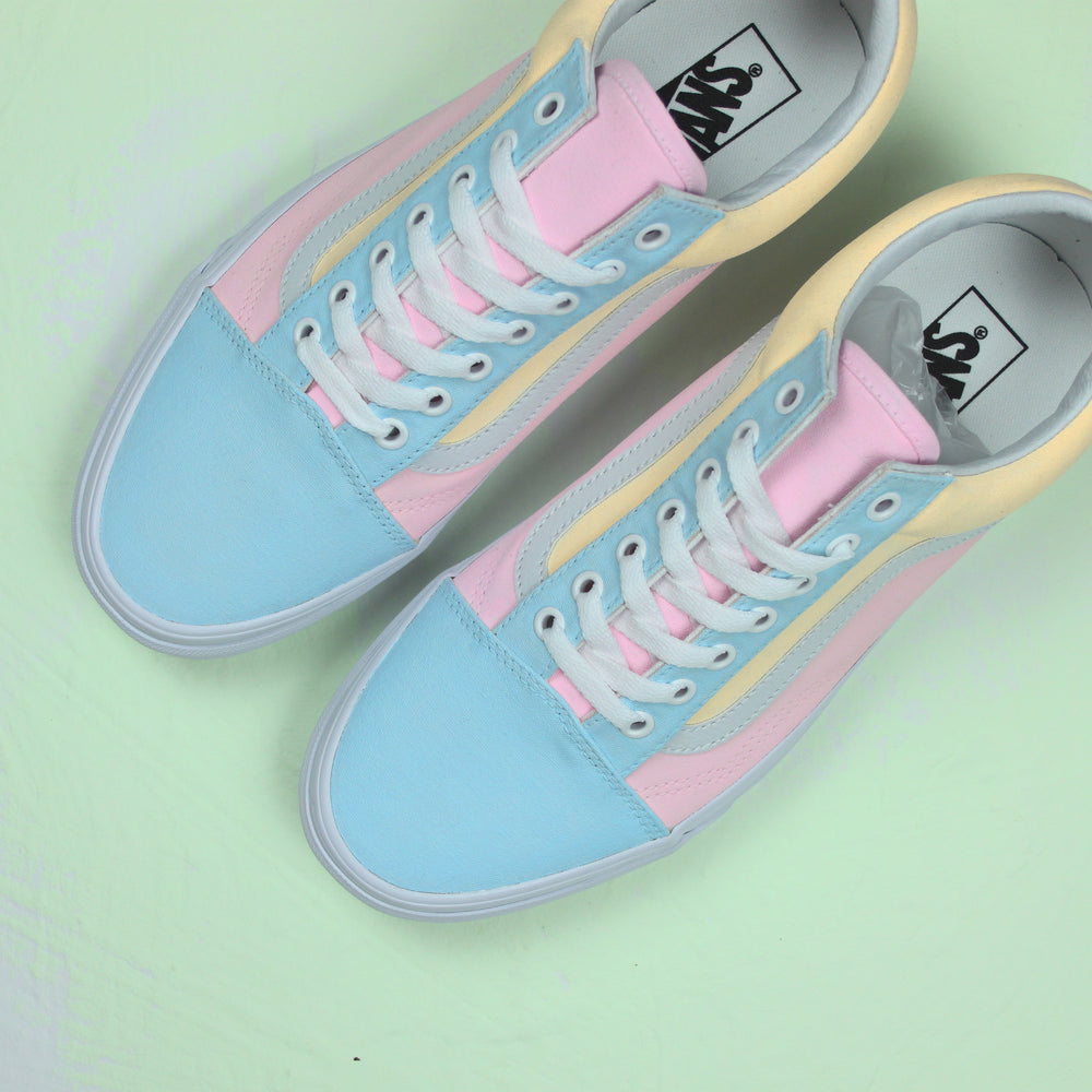 c85dd58d89 TheShoeCosmetics - Pastel Multi Colored Vans Old Skool Custom Sneakers