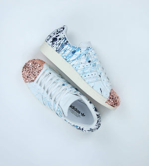 TheShoeCosmetics BLUE OMBRE SPLATTER ROSE GOLD ADIDAS SUPERSTARS