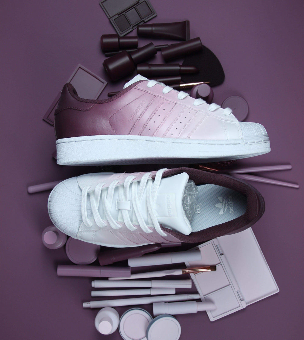 Burgundy ombre adidas superstar custom shoes | dress code in