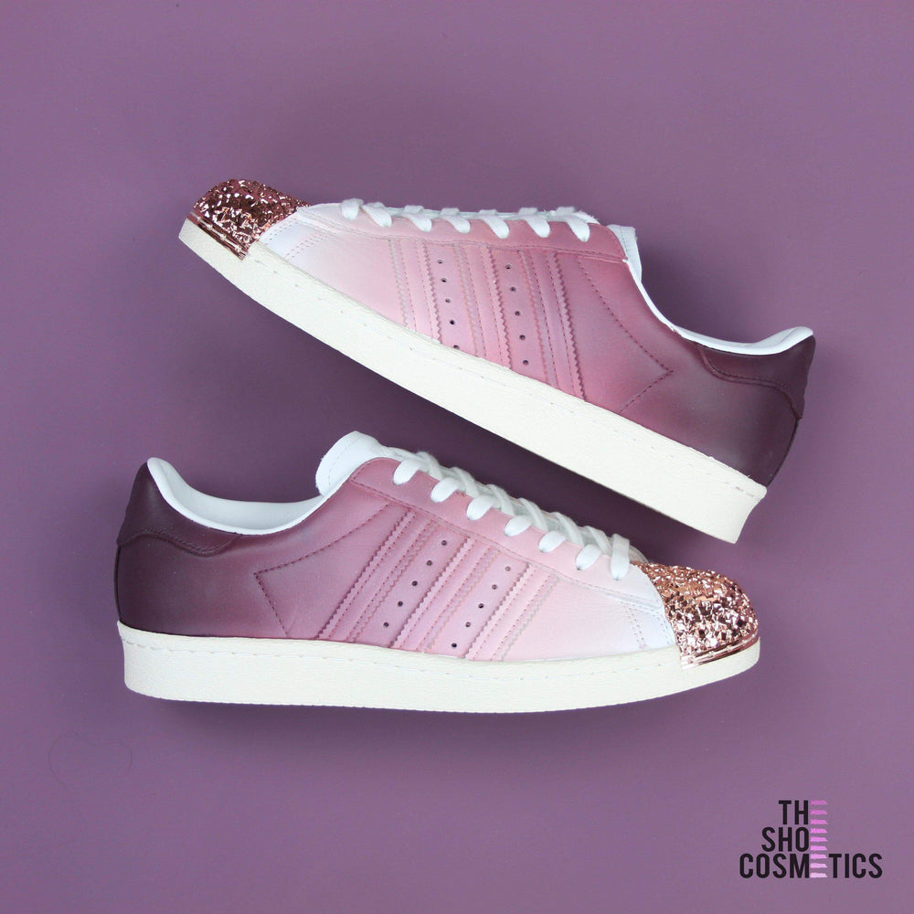 fb3b84c82031a9 TheShoeCosmetics Burgundy Adidas Superstar Rose Gold Shell Toe Custom Shoes  - Ombre Design
