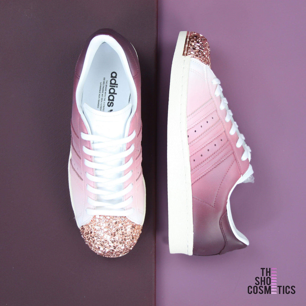 8377047224a5 TheShoeCosmetics Burgundy Adidas Superstar Rose Gold Shell Toe Custom Shoes  - Ombre Design