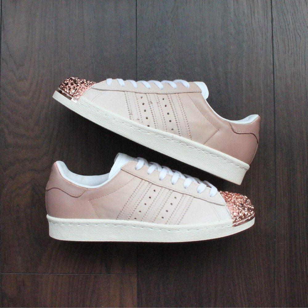 999c4d8daef7 TheShoeCosmetics - Coffee Adidas Superstar Rose Gold Shell Toe Custom Shoes  - Ombre Design