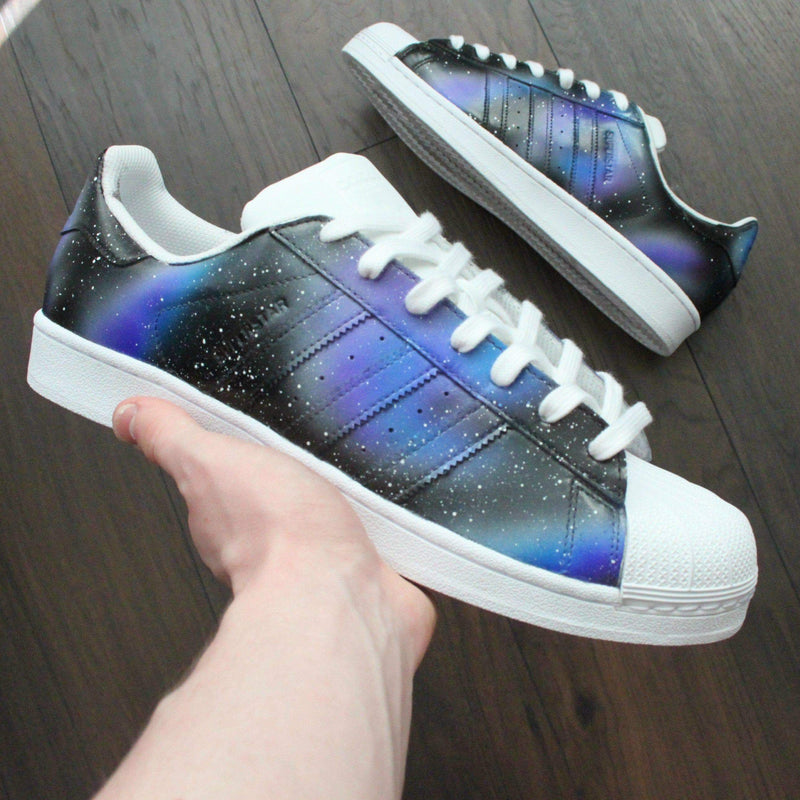 reputable site bd34b b01d2 TheShoeCosmetics · ADIDAS SUPERSTAR CUSTOM GALAXY SNEAKERS