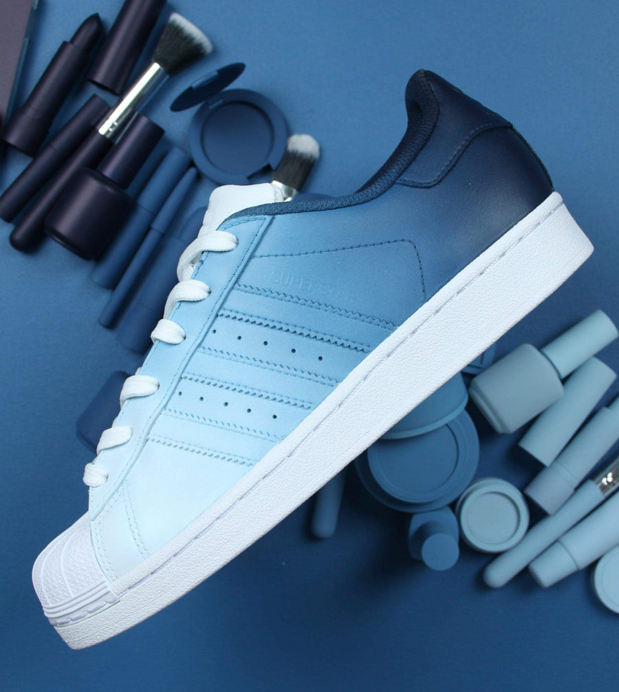 Navy Blue Ombre Adidas Superstar Custom Shoes – TheShoeCosmetics