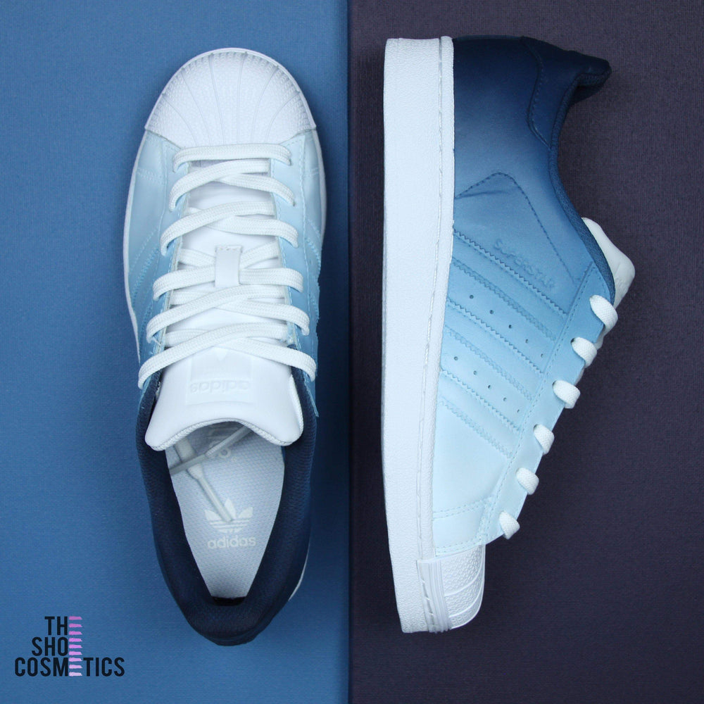 first rate 31f2b 1fd21 TheShoeCosmetics - Adidas Superstar Navy Blue Custom Sneakers - Ombre Design