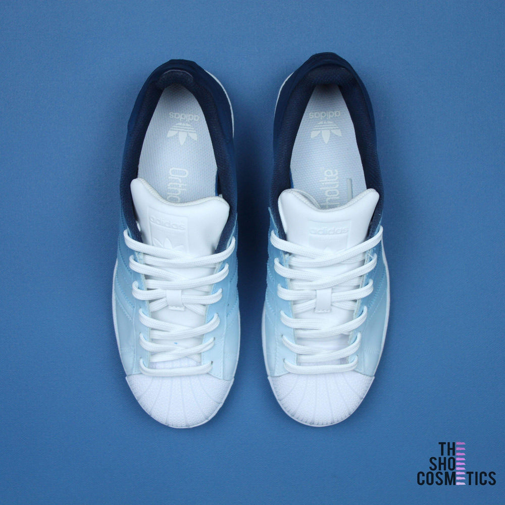 59f74a530ae TheShoeCosmetics - Adidas Superstar Navy Blue Custom Sneakers - Ombre Design