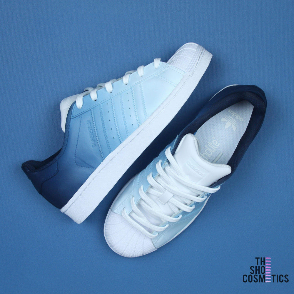 new arrival afb3b 8e7ce Navy Blue Ombre Adidas Superstar Custom Shoes – TheShoeCosmetics