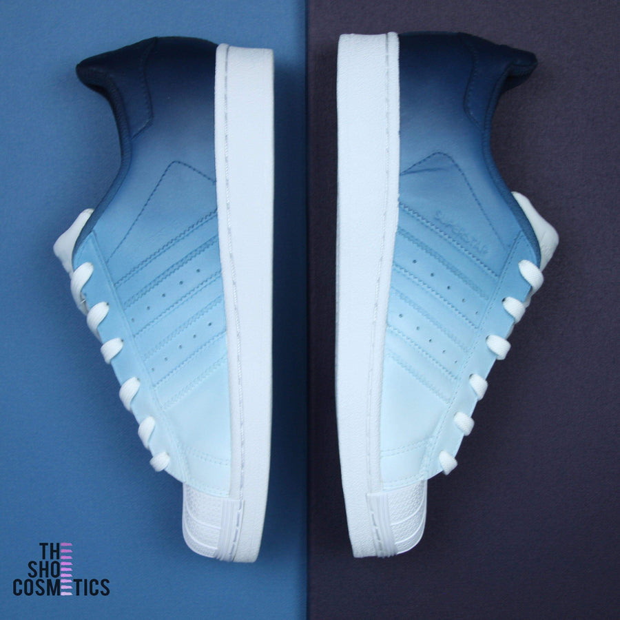TheShoeCosmetics - Adidas Superstar Navy Blue Custom Sneakers - Ombre Design