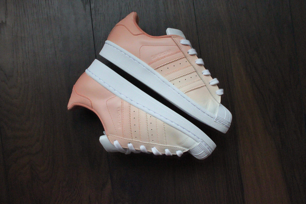 more photos 2316e 69d7b TheShoeCosmetics - Adidas Superstar Peach Custom Sneakers - Ombre Design