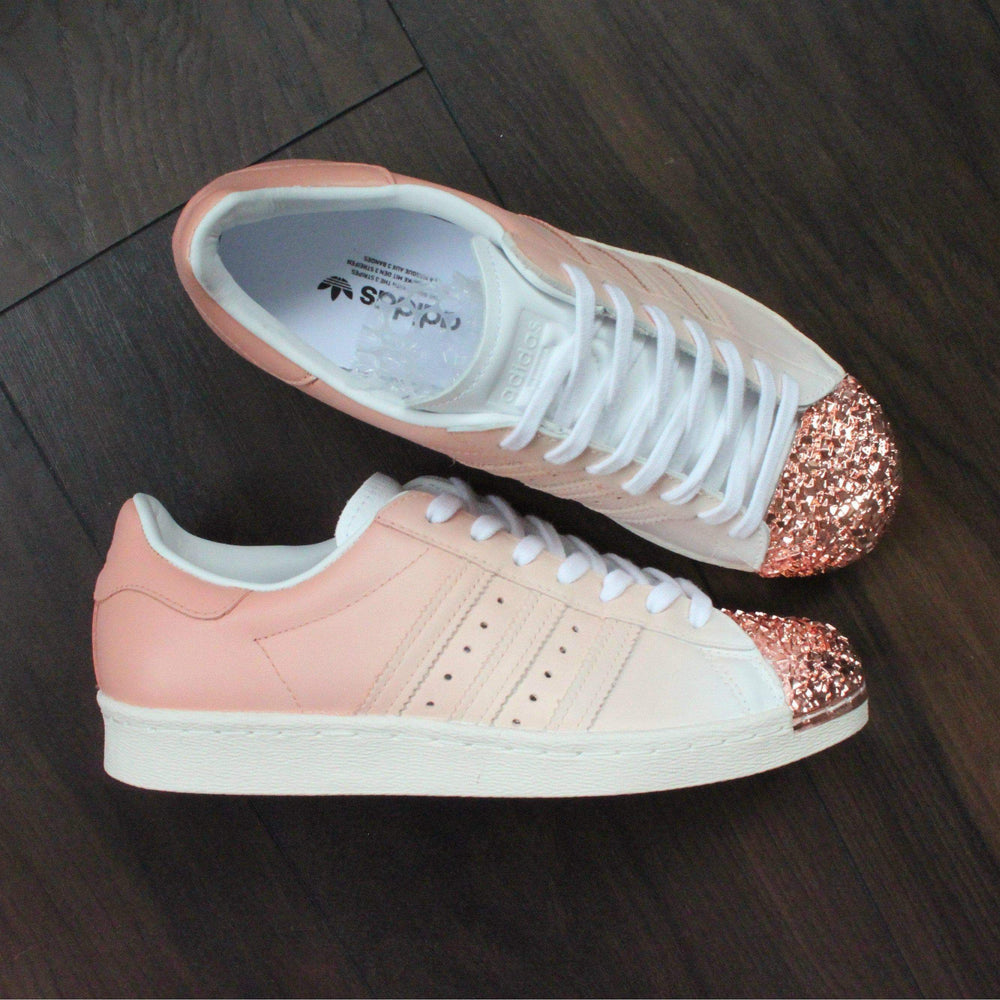 save off 36d52 5d7e2 TheShoeCosmetics - Peach Adidas Superstar Rose Gold Shell Toe Custom Shoes  - Ombre Design