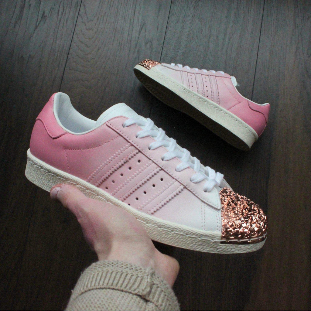 bbb0641a0af4 Pink Adidas Superstar Rose Gold Shell Toe Custom Shoes – TheShoeCosmetics