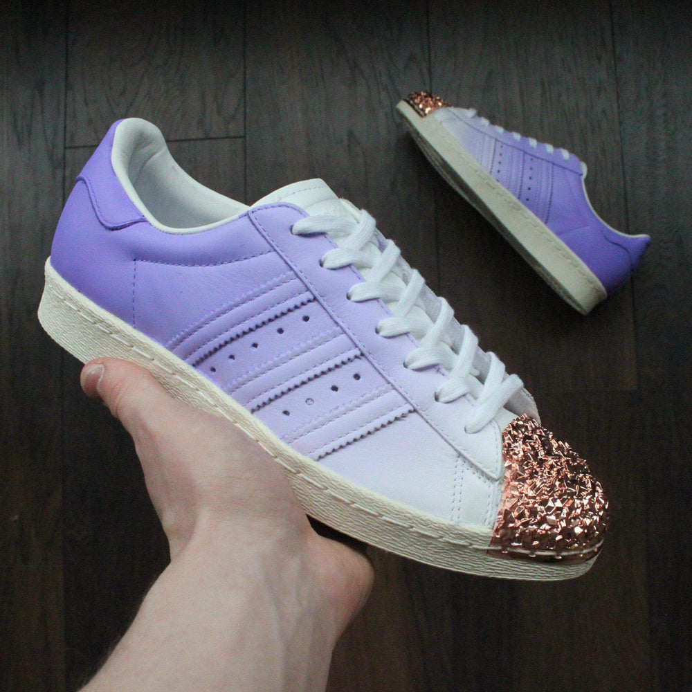 3b236c9cf2a4 TheShoeCosmetics - Purple Adidas Superstar Rose Gold Shell Toe Custom Shoes  - Ombre Design